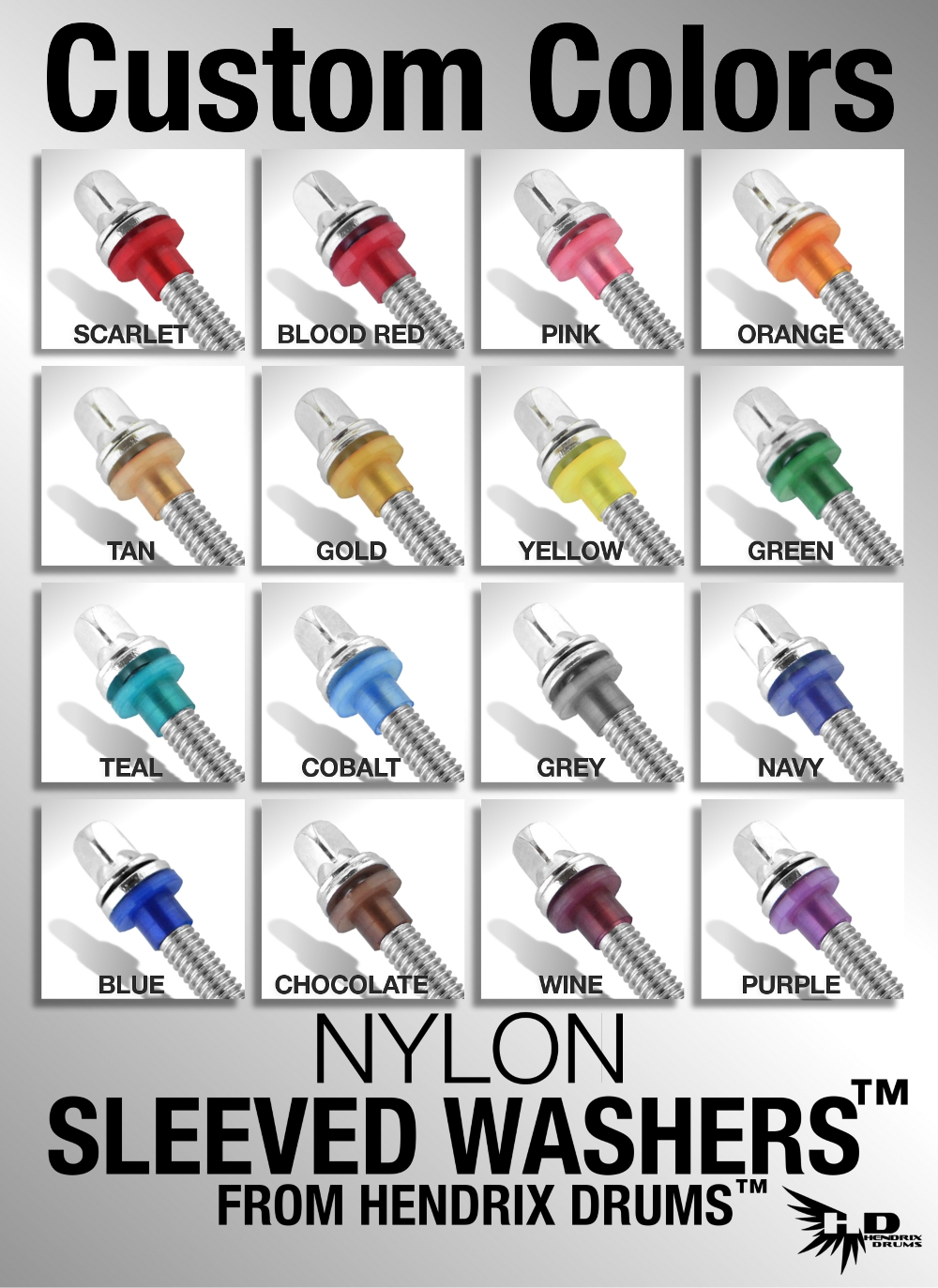 Hendrix Drums Nylon Sleeved Washers Custom Color Chart